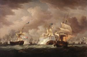 The Battle of Camperdown 1798 by Thomas Whitcombe active 1783-1824