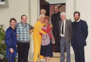 Jimmy Saville & Housekeeper Catriona Canavan with Fr O'Connel Rev McLachlan and Kevin Kelly Celtic Chairman